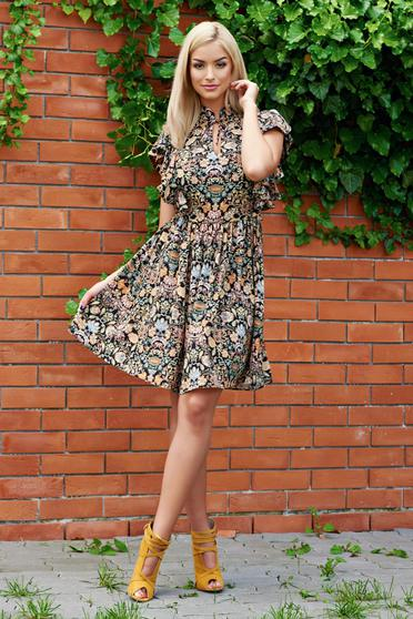 PrettyGirl black dress with ruffled sleeves with floral prints