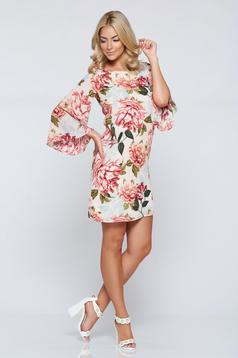 PrettyGirl white easy cut dress with floral prints