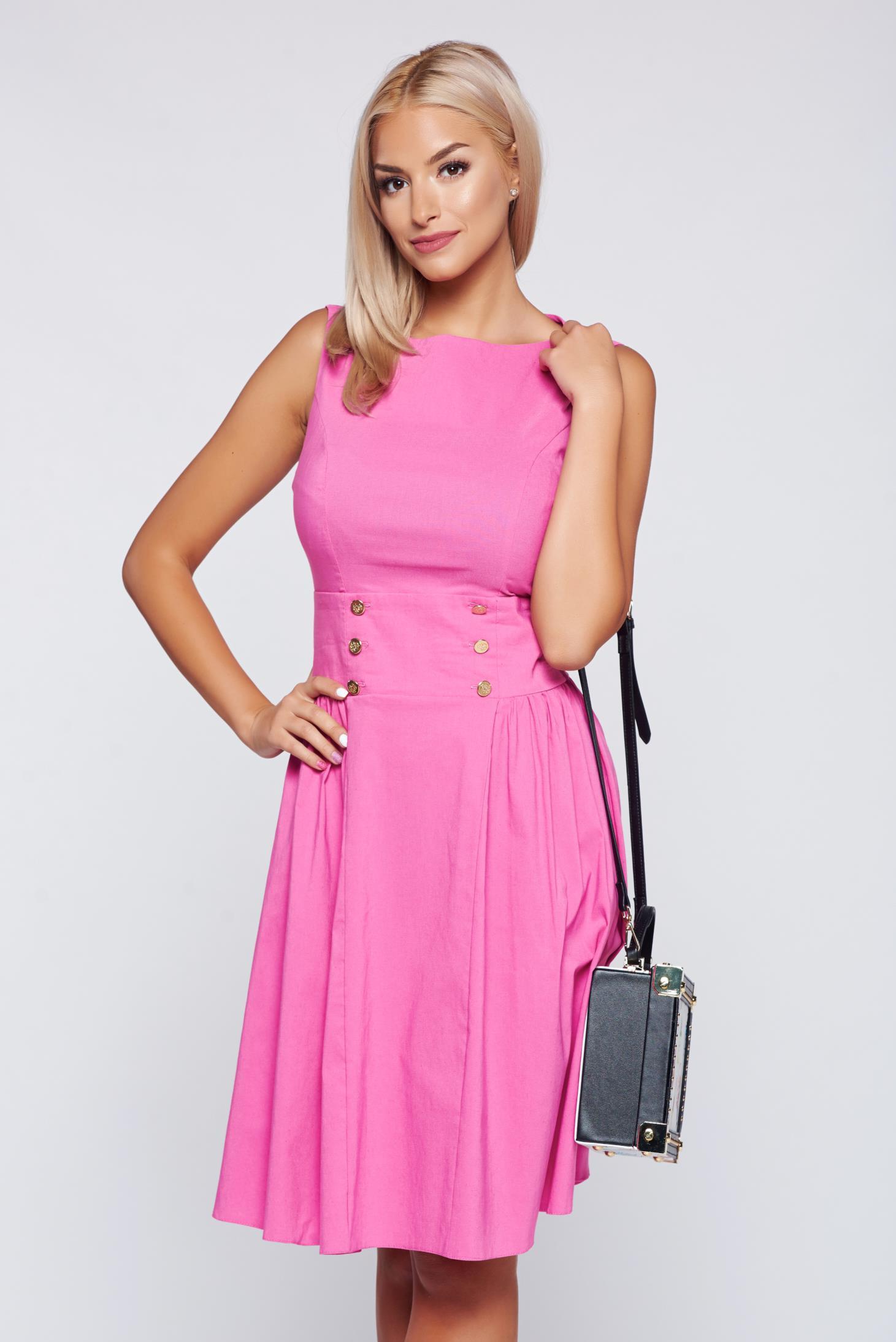 Rochie PrettyGirl roz casual in clos fara maneci