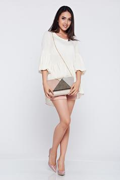 PrettyGirl nude casual women`s blouse with easy cut and bell sleeve