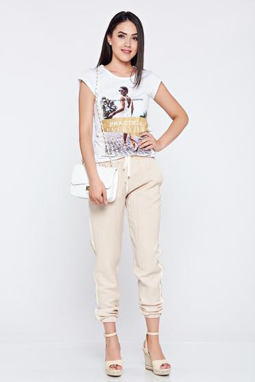 Nude PrettyGirl casual trousers with pockets vertical stripes