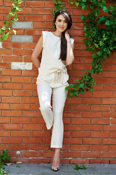Cream PrettyGirl easy cut trousers with pockets and laced details
