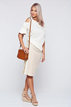 PrettyGirl cream casual pencil skirt with vertical stripes