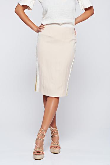 PrettyGirl cream casual pencil skirt with vertical stripes