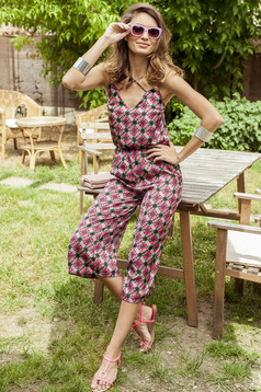 PrettyGirl airy fabric pink casual jumpsuit with elastic waist