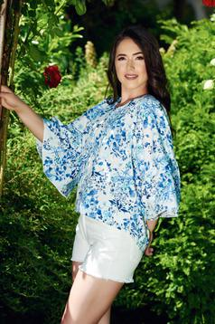 PrettyGirl white easy cut cotton women`s blouse with bell sleeve