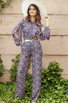 PrettyGirl blue long jumpsuit with print details