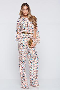 PrettyGirl cream long jumpsuit print details