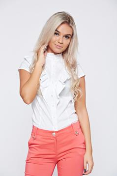 Office PrettyGirl white women`s shirt with ruffles on the chest and short sleeve