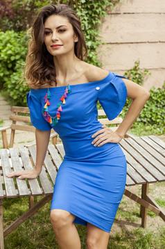 PrettyGirl blue off shoulder midi pencil dress