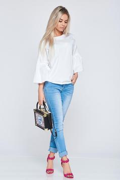 PrettyGirl white cotton casual women`s blouse with bell sleeves