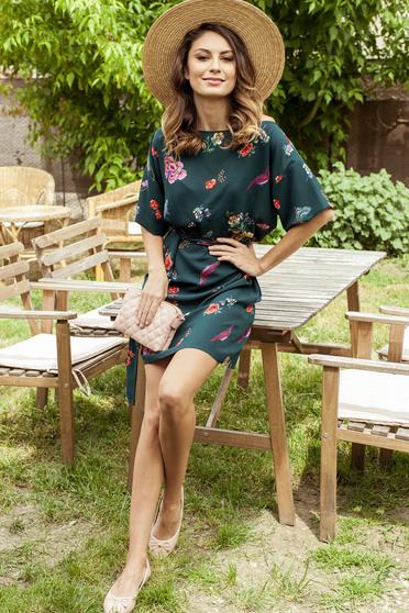 Darkgreen PrettyGirl easy cut dress with floral prints