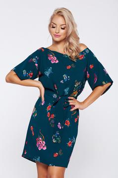 Darkgreen PrettyGirl easy cut dress with floral prints