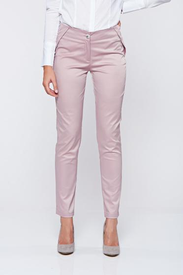 PrettyGirl rosa conical trousers with pockets and medium waist