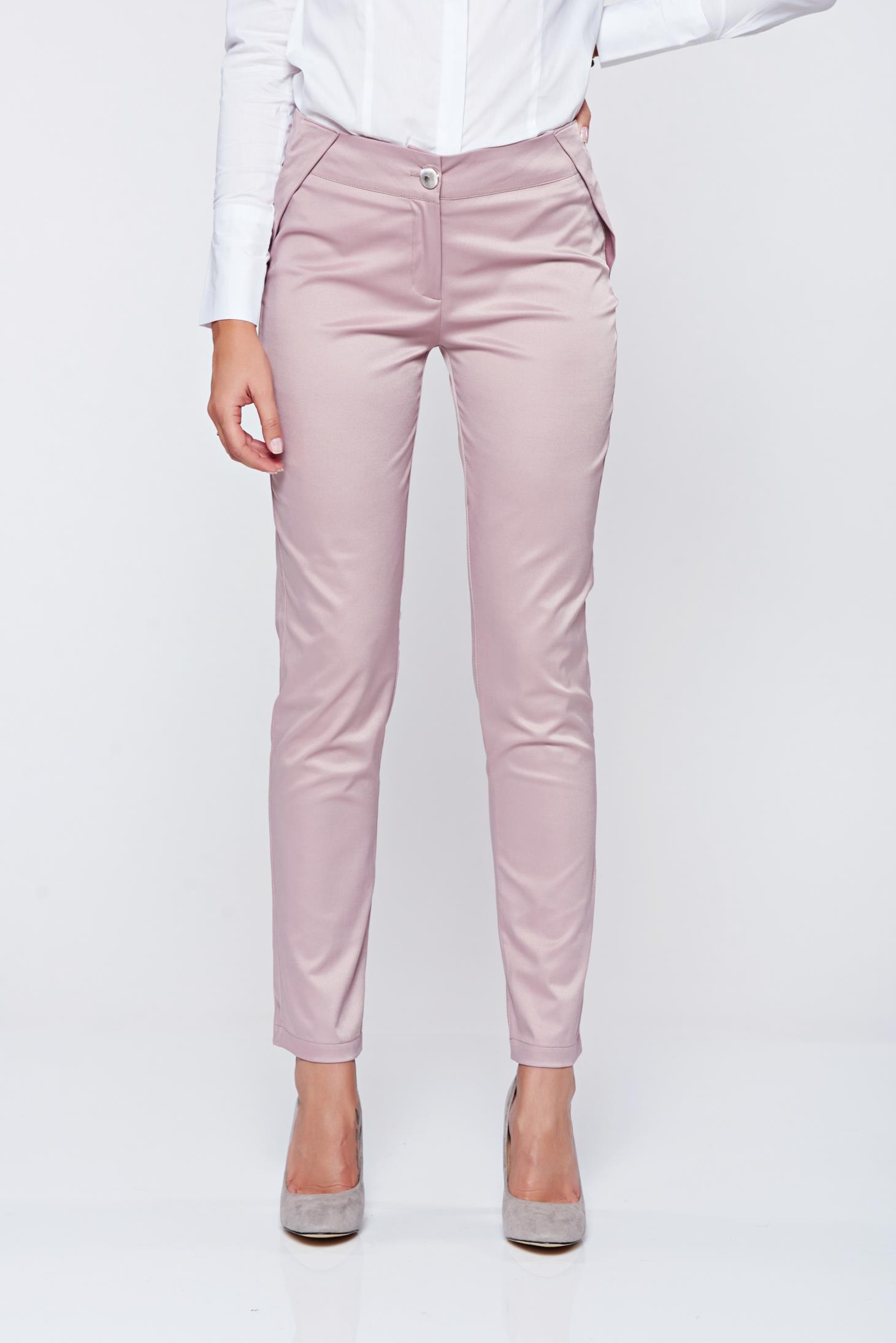 Pantaloni PrettyGirl rosa conici cu talie medie cu aspect satinat