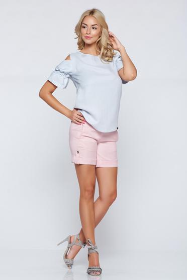 PrettyGirl lightblue airy fabric off shoulder women`s blouse