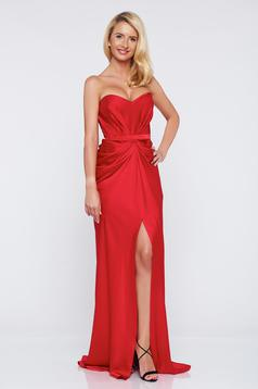 Ana Radu asymmetrical red dress push-up bra wrinkled fabric