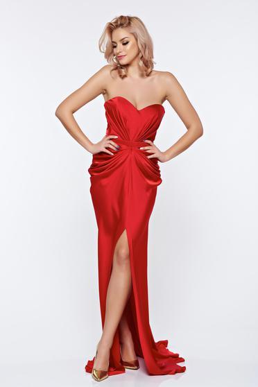Ana Radu asymmetrical red dress with push-up bra from wrinkled fabric
