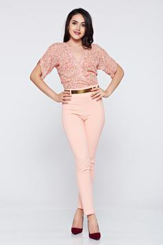 Elegant PrettyGirl peach airy fabric jumpsuit with short sleeve