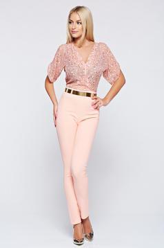Elegant PrettyGirl peach airy fabric jumpsuit with short sleeve