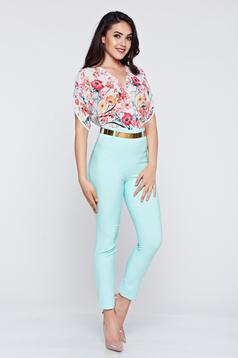 Elegant PrettyGirl mint airy fabric jumpsuit short sleeve