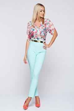 Elegant PrettyGirl mint airy fabric jumpsuit short sleeve