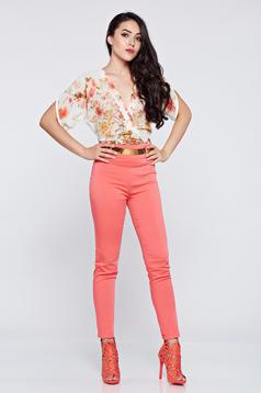 Elegant PrettyGirl coral airy fabric jumpsuit short sleeve