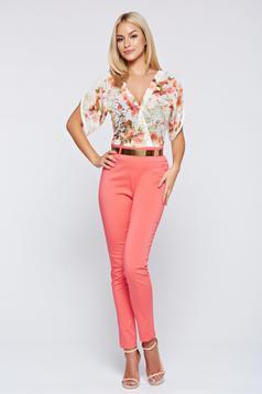 Elegant PrettyGirl coral airy fabric jumpsuit short sleeve