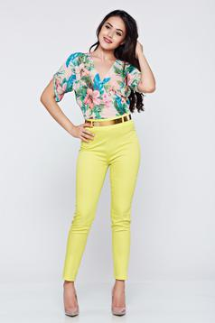 Elegant PrettyGirl yellow airy fabric jumpsuit short sleeve