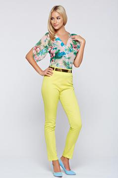 Elegant PrettyGirl yellow airy fabric jumpsuit short sleeve