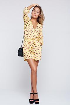 PrettyGirl yellow airy fabric jumpsuit elastic waist