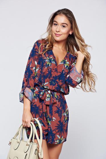 PrettyGirl brown airy fabric jumpsuit elastic waist