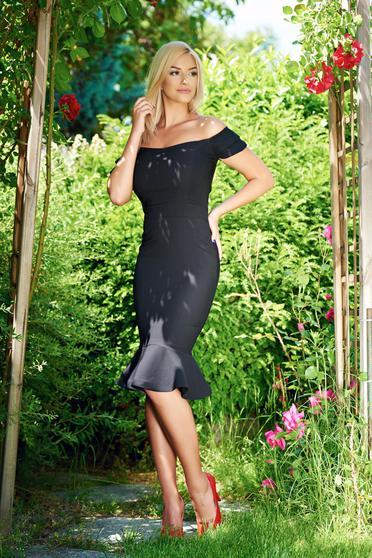 LaDonna black elegant dress ruffles at the buttom of the dress