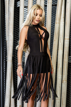 Ocassion black jumpsuit with deep cleavage and fringes