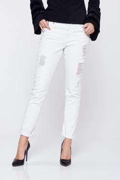 Top Secret white jeans with medium waist and ruptures