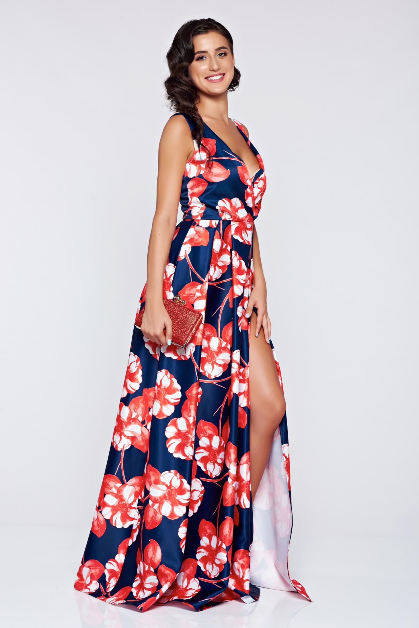 Rochie Artista albastru-inchis de ocazie in clos cu imprimeu floral