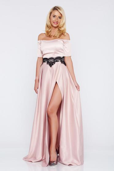 Artista occasional rosa dress with satin fabric texture embroidery details