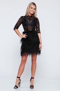 Ana Radu black evening dress with feather details