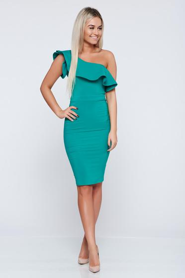 LaDonna green one shoulder elegant dress with ruffles on the chest