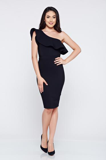 LaDonna black one shoulder elegant dress with ruffles on the chest