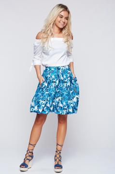 Top Secret blue cloche casual skirt with floral prints