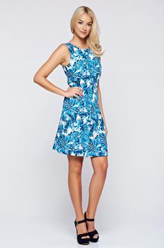 Top Secret blue sleeveless dress with floral prints