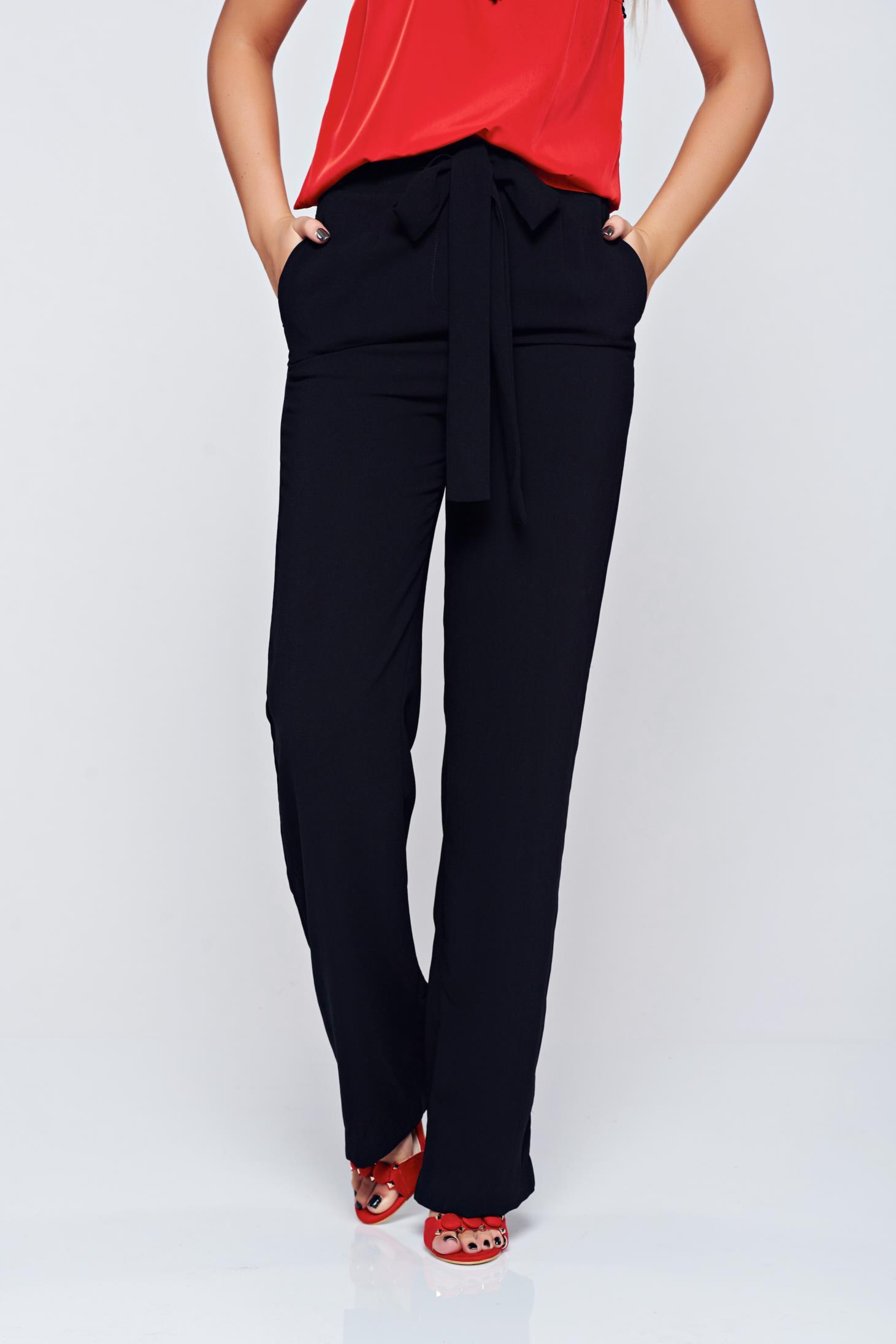 Pantaloni Top Secret negri evazata cu talie inalta