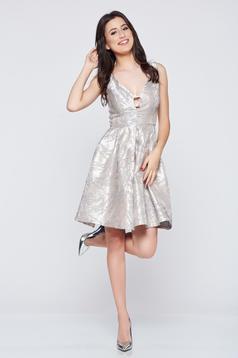 Fofy grey jacquard elegant dress with cut back