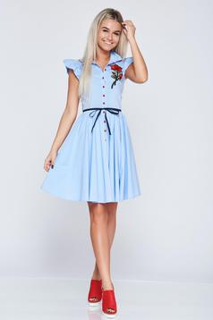 Cloche Fofy lightblue casual dress with embroidery details
