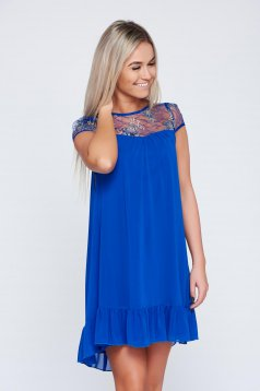 Fofy blue voile fabric elegant dress with lace details