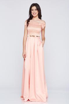 Occasional Fofy peach off shoulder long dress