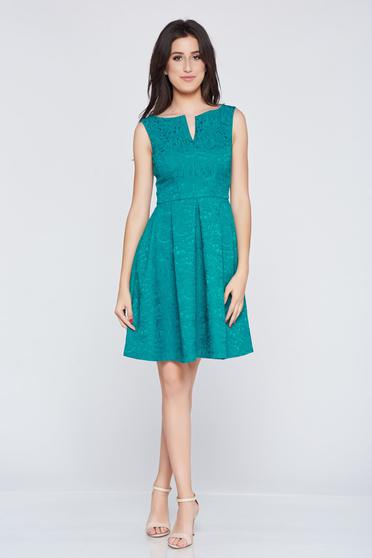 Fofy green jacquard elegant dress with cut-out bust design