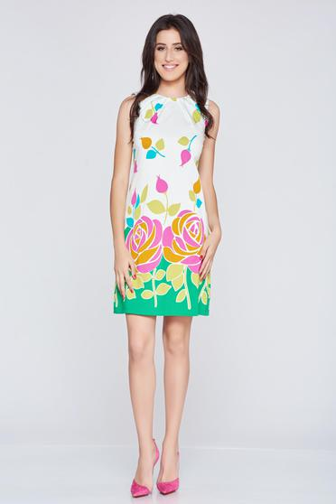 Sleeveless Fofy green flared dress with floral print