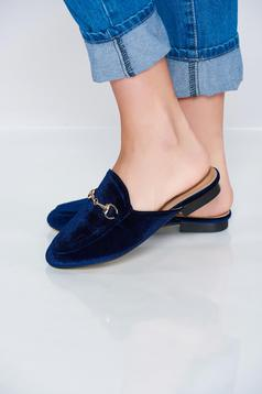 Darkblue slippers with light sole and metalic accessory